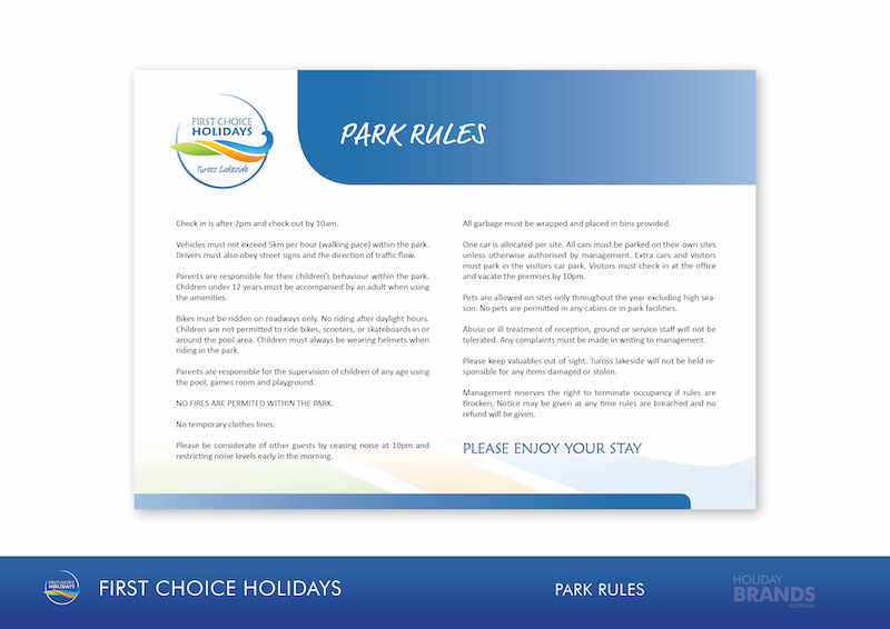 FCH Holiday Park Style Guide Park Guest Rules